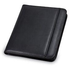 Padfolio Leather Black Zipper Organizer Pad Holder Case Pocket Planner Card Pen