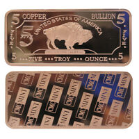 (2) 5 oz Five Troy Ounces USA American Buffalo .999 Pure Copper Bullion Bar Cu