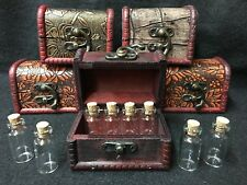 Witches Wooden Chest with 8 Mini Vials, ideal for Herbs, Crystal Chips - Wicca