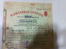KANKNARRAH CO LTD PREF STOCK SHARE CERTIFICATE RED EMB REV LARGE FONT HEADER1902