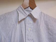 White & Black Pinstripe Textured Herringbone Pattern T.M. Lewin Shirt in Size 12