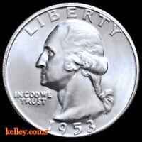 1953-S 25C Washington Silver Quarter BU