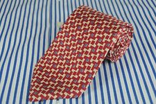Brooks Brothers Uomo Rossi e Bianchi Geometrico Stampa Cravatta Seta 147x8.9cm