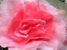 "VINTAGE silk organza 7"" CANDY PINK  ROSE CZECH  1 FLOWER"