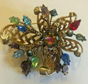 Vintage Large Gold Metal Filigree Brooch With Multi Coloured Stones 42g