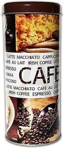 KAFFEEDOSE aus Metall Ø8x17,5cm Kaffeepaddose Kaffee Paddose Coffee Blechdose 00