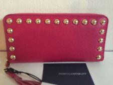 BRAND NEW Rebecca Minkoff Ava Studs Zip Around Leather Wallet BRIGHT FUSCIA $145