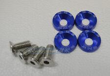 KODE-4 x M8 Anodise BLUE Alu. Fender Washers & Bolts Subaru Toyota Honda