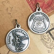 """Saint St Michael the Archangel 3/4"""" Medal Pendant Police Badge Serve and Protect"""