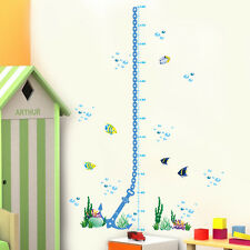 Ocean Fish Anchor Wall Sticker Height Measure Kids Growth Chart  Decor Decal