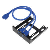 """Floppy Bay 20 Pin 3.5"""" Front Panel 2 Ports USB 3.0 Expansion Adapter Connector"""