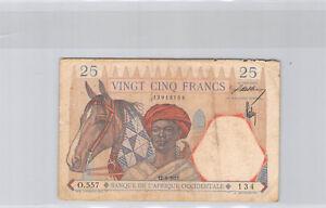 Africa Western French 25 Francs 12.8.1937 O.557 N° 13913134 Pick 22