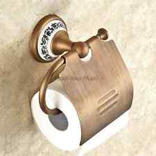Wall Mount Antique Brass Porcelain Design Toilet Paper Holder Roll Tissue Shelf