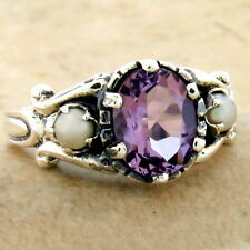 Sterling Silver Ring Size 10, #1014 Genuine Amethyst Pearl Antique Style 925