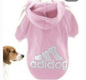 Adidog Dog Hoodie 2 Legs Jumpsuit Puppy Hoodies Coat Sweatshirt Outfits Med NEW