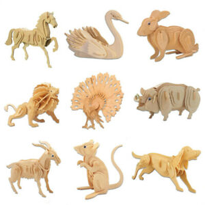 3D Wooden Puzzle Assembly Model Laser Cutting DIY Animal Toys Wood Craft