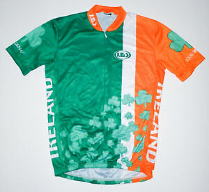 LOUIS GARNEAU 3/4 Zip Cycling Jersey IRELAND Green/Orange IRISH Clover Mens MD