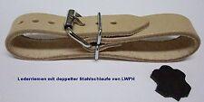 4 Lederriemen Natur 24,0 x 2,0 cm doppelter Metallschlaufe Nostalgie Kinderwagen