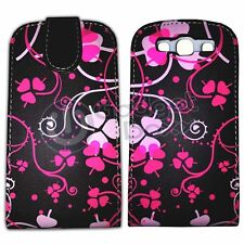 CASE FOR SAMSUNG GALAXY S3 BLACK PINK THREE LEAF CLOVER PU LEATHER FLIP COVER