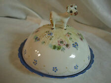 Cow & Flowers Russian Folk Art Pottery Covered Cheese Butter Serving Dish Plate