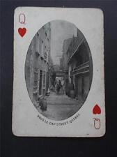 Vtg Antique Photo Sous Le Cap Street QUEBEC CANADA CANADIAN Playing Card c1905
