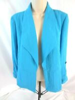 Chico's Womens Blazer Jacket Long Sleeve Open Front Blue Size 0 Small 1588