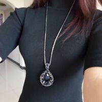 Frauen Strass Wassertropfen Lang Anhänger Halskette Pullover Kette flYfE eoHpr