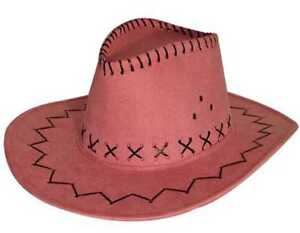 Women Ladies Pink Novelty Faux Leather Cowboy Style Hat Cowgirl Summer Fashion