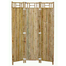 Handcrafted 3 Panel Outdoor Bamboo Shoji Folding Screen Room Dividers Natural
