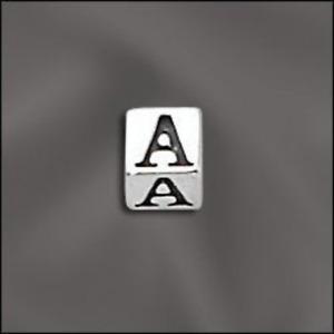 Sterling Silver Letter Beads, 4.5mm Alphabet Blocks, 3mm hole, 925 Sterling Silv