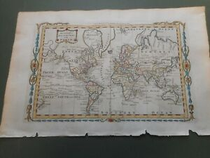 100% ORIGINAL WORLD MAP FROM MILLARS GEOGRAPHY C1784 VGC HAND COLOURED