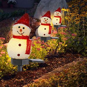 Xmas Solar Powered LED Snowman Light Decor Outdoor Garden Stake Lamp Christmas ~