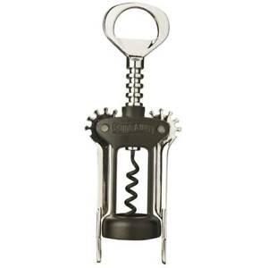 Swing-A-Way Wing Corkscrew Spiral Wine Bottle Opener Amco 757BK, Black And Steel