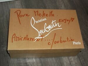 Christian Louboutin Evita Burma Black NIB Signed Box W/Receipt Ladies Heels 38.5
