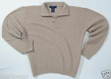 NEW 100% Geelong Lambswool Hathaway Platinum Mens Large L Beige Half Zip Sweater