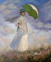 Claude Monet Woman with Sunshade Repro, Hand Painted Oil Painting 20x24in