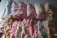 USED 14 PC. LOT OF BABY GIRL CLOTHES/SWADDLERS 0-12 MONTHS EUC/VGUC