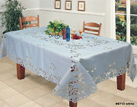Creative Linens Embroidered Floral Tablecloth With Napkins White 6713W
