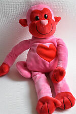 TESCO PINK MONKEY WITH RED HEART PINK NOSE HUGGING FRIEND SOFT TOY NEXT DAY POST