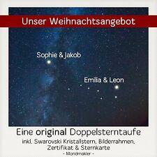 Doppel Sterntaufe - Zwei Sterne taufen kaufen Weihnachten Valentinstag Jahrestag