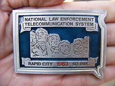 Vtg POLICE RADIO Belt Buckle 1983 Rapid City SD Johnston NALETS Dakota RARE VG++