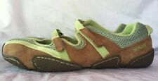 TEVA MUSH Mary Jane Flats Shoes Velcro Womens sz. 9 Brown Green Lime