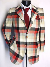 Beautiful Red/Black/Beige Check 100% Cashmere 2Button Sport Jacket 38S