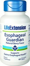 Life Extension Esophageal Guardian Chewable Tablets of Natural Berry Favor-60Cap