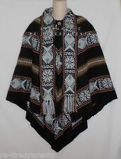 S AMERICAN PONCHO – WOVEN WOOL & COTTON BLEND – EARTH TONE COLORS – NWR $65