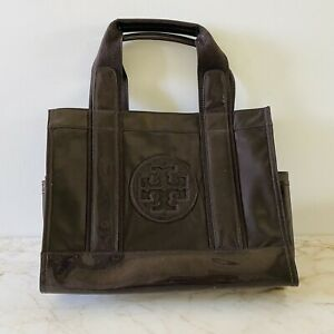 TORY BURCH Solid Brown Ella Mini Nylon Tote Bag