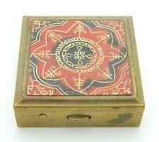 Gold Tone Red Black Middle Eastern Design Enamel Pill Box Vintage
