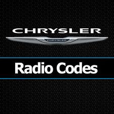 Códigos de radio Chrysler PT Cruiser Grand Voyager Decodificar Desbloqueo de códigos todos los vehículos