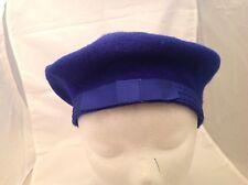 Vintage Ladies Hat Beret Style Royal Blue W/ Grosgrain Matching Blue Bow NICE