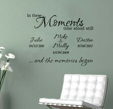 "Personalized In These Moments Time Stood Still  wedding wall decal Blk (30""X23"")"